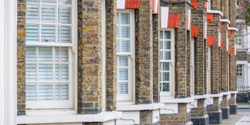 Traditional English terraced houses in London, UK